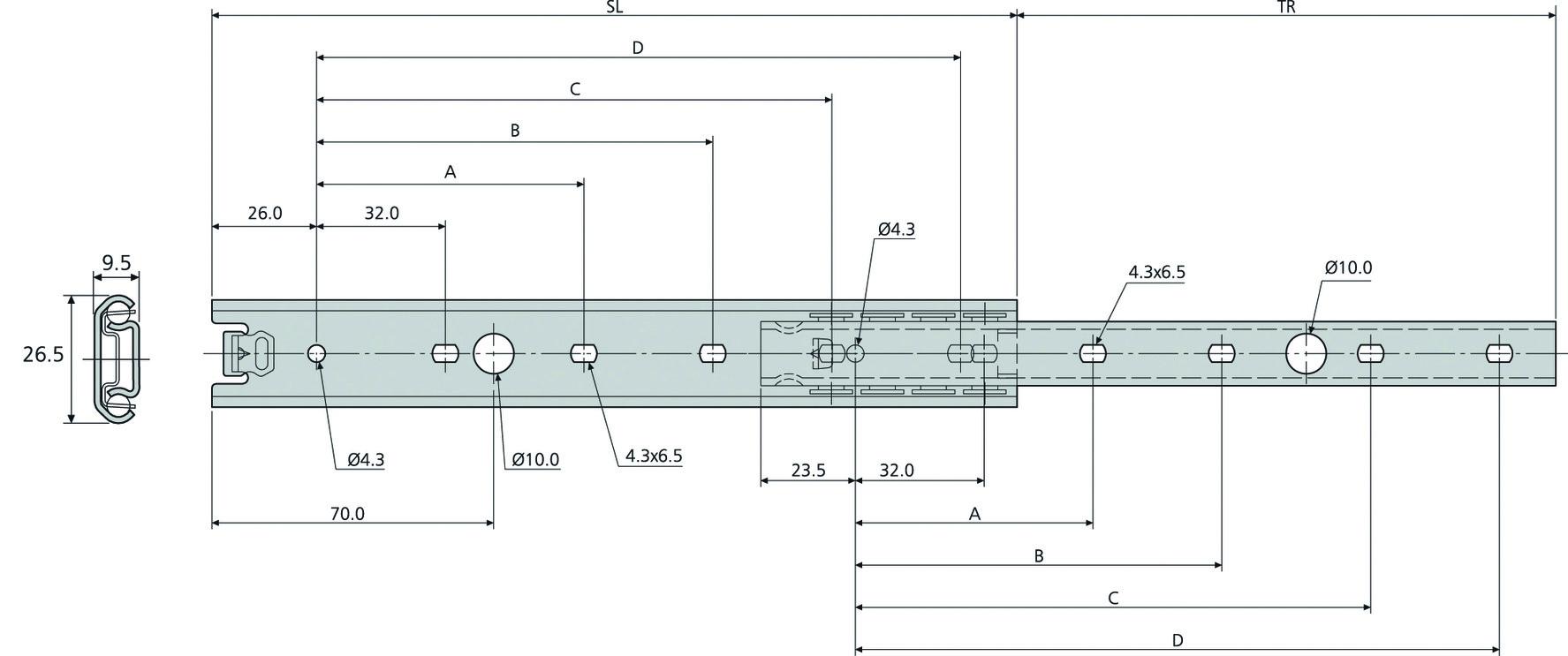 Kugel-Teilauszüge ACCURIDE DS2728
