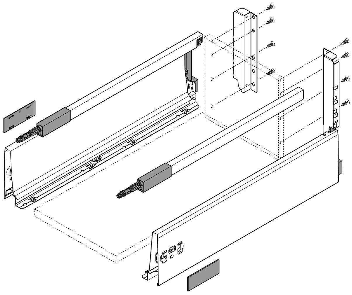 Kit completi cassetto con ringhierina preassemblato BLUM TANDEMBOX M / D con sospensione, grigio RAL 9006