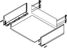 Kit completi cassetto con ringhierina preassemblato BLUM Legrabox pure C, bianco seta