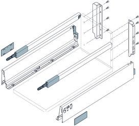 Kit completi cassetto con ringhierina preassemblato BLUM TANDEMBOX M / B con sospensione, nero-terra