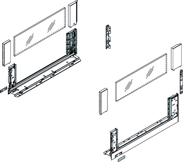 Komplett-Frontschubkasten-Set BLUM Legrabox free C, seidenweiss