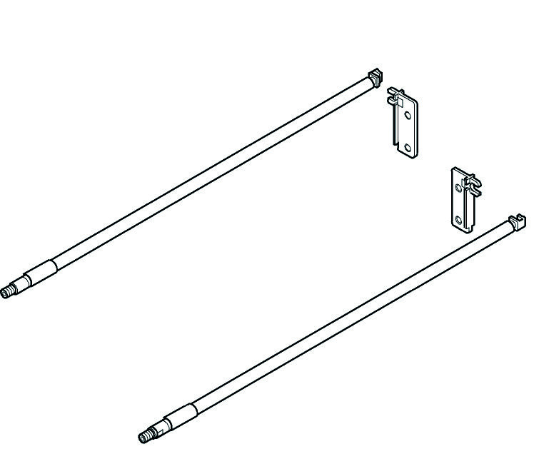 Kit de tubes longitudinaux BLUM MOVENTO avec adaptateurs dos ZRE