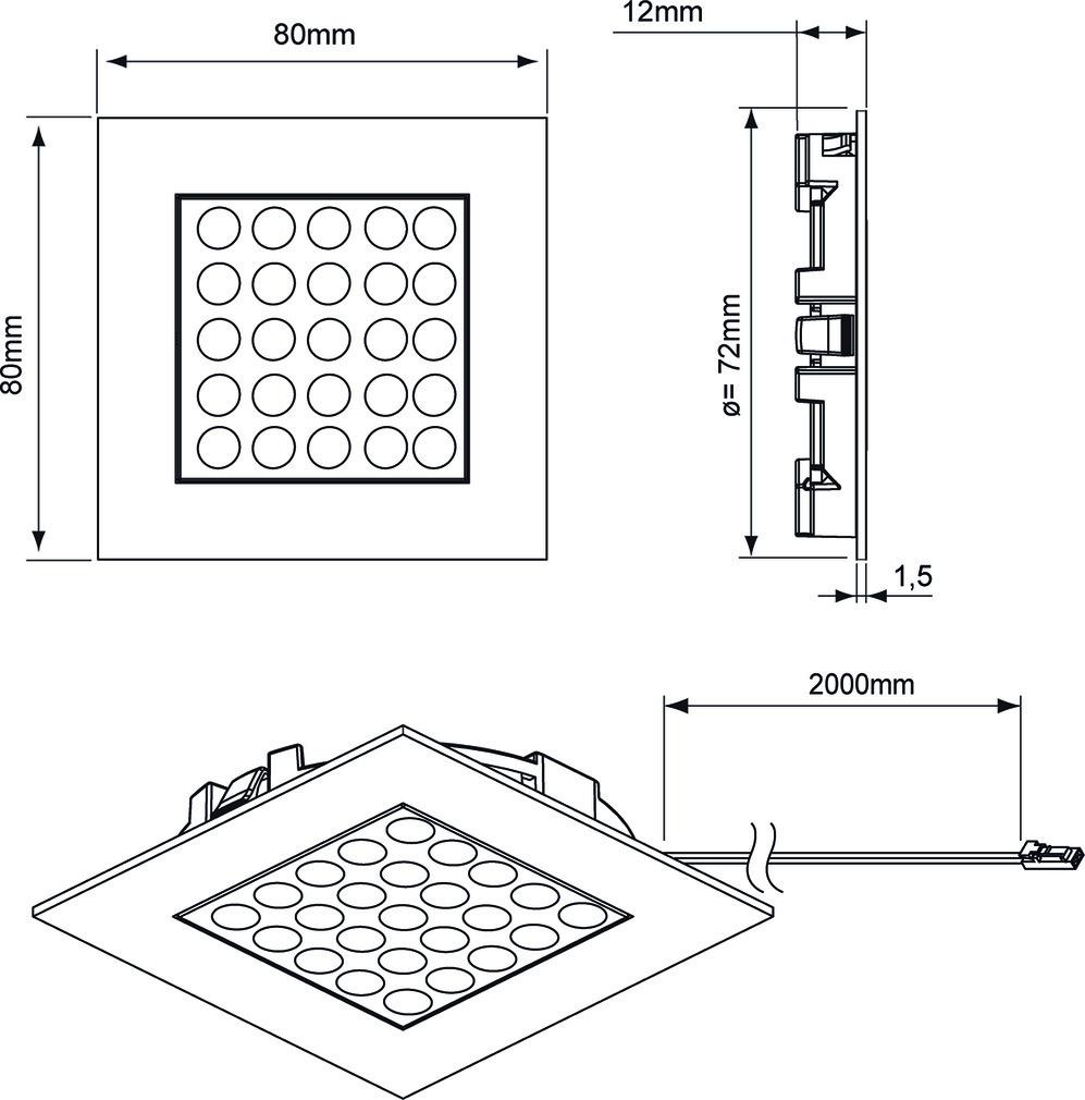Lampes encastrables LED L&S Matrix IN 24 V