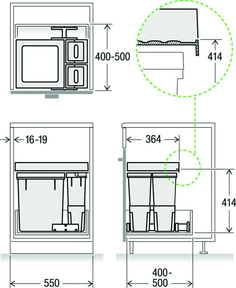 Kehrichtsystem MÜLLEX X-LINE X55 L5 Premium